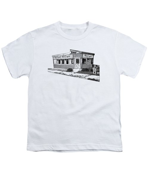 White Crystal Diner Nj Sketch Youth T-Shirt by Edward Fielding