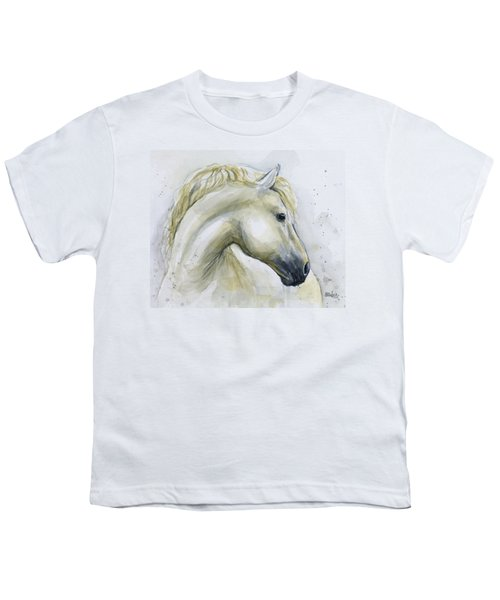 White Horse Watercolor Youth T-Shirt