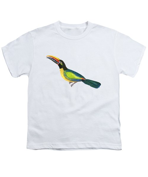 Winged Jewels 2, Watercolor Toucan Rainforest Birds Youth T-Shirt