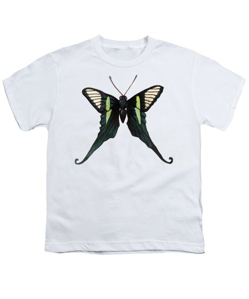 Winged Jewels 3, Watercolor Tropical Butterfly With Curled Wing Tips Youth T-Shirt