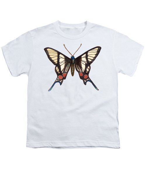 Winged Jewels 4, Watercolor Tropical Butterflie Black White Red Spots Youth T-Shirt