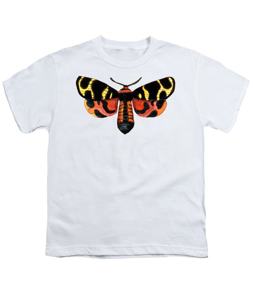 Winged Jewels 5, Watercolor Moth Black Yellow Orange And Red Tropical Youth T-Shirt