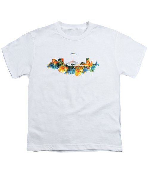 Winnipeg Skyline Youth T-Shirt by Marian Voicu