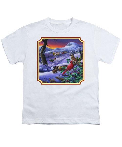 Winter Mountain Landscape - Cardinals On Holly Bush - Small Town - Sleigh Ride - Square Format Youth T-Shirt