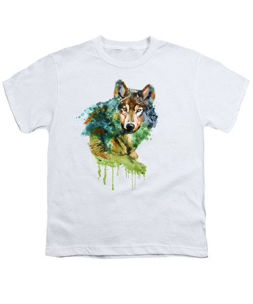 Wolf Face Watercolor Youth T-Shirt by Marian Voicu