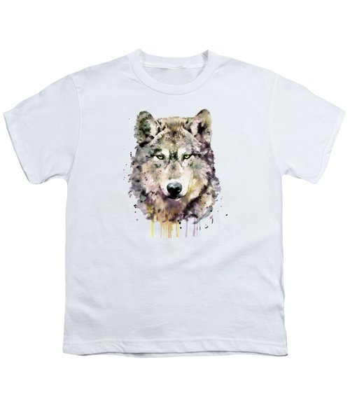 Wolf Head Youth T-Shirt by Marian Voicu