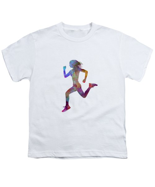 Woman Runner Running Jogger Jogging Silhouette 01 Youth T-Shirt by Pablo Romero
