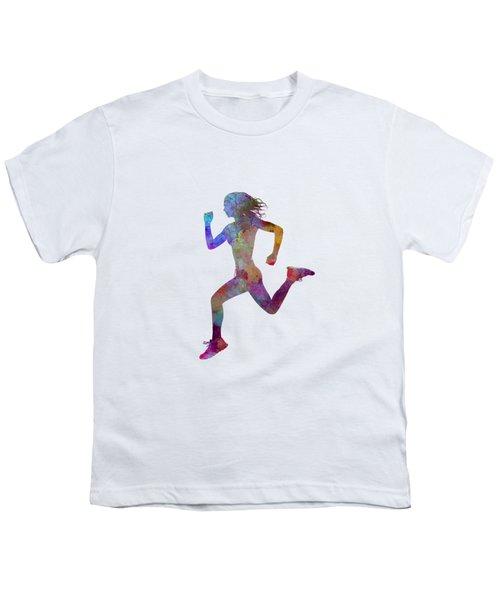 Woman Runner Running Jogger Jogging Silhouette 01 Youth T-Shirt