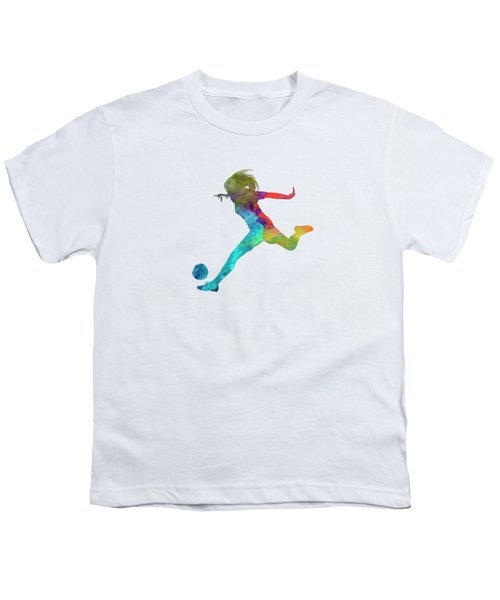 Woman Soccer Player 01 In Watercolor Youth T-Shirt by Pablo Romero