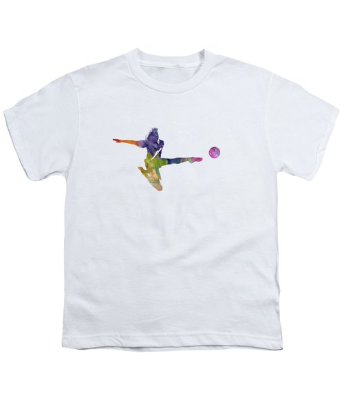 Woman Soccer Player 04 In Watercolor Youth T-Shirt by Pablo Romero