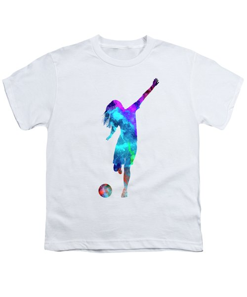Woman Soccer Player 05 In Watercolor Youth T-Shirt by Pablo Romero