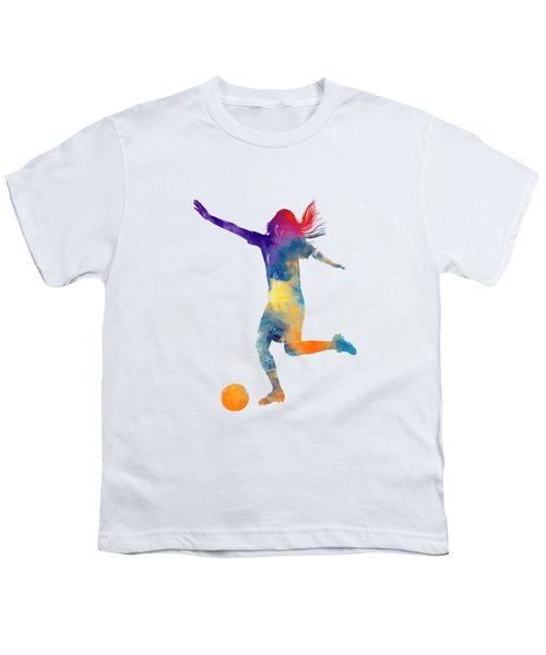 Woman Soccer Player 07 In Watercolor Youth T-Shirt