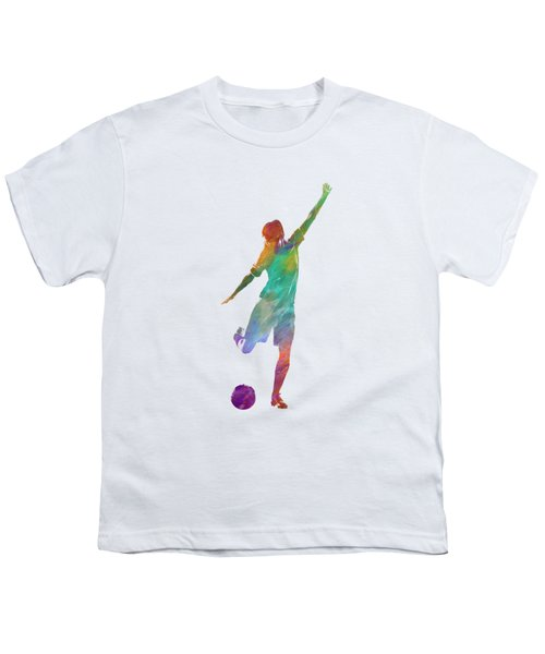 Woman Soccer Player 09 In Watercolor Youth T-Shirt