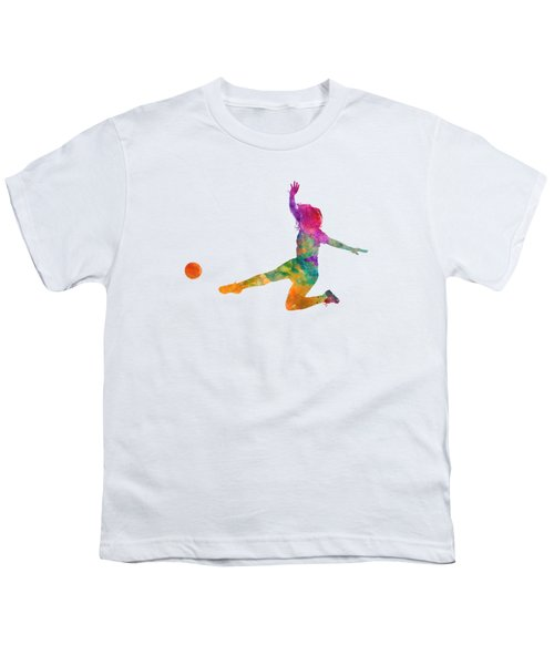 Woman Soccer Player 11 In Watercolor Youth T-Shirt by Pablo Romero
