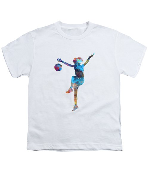 Woman Soccer Player 12 In Watercolor Youth T-Shirt