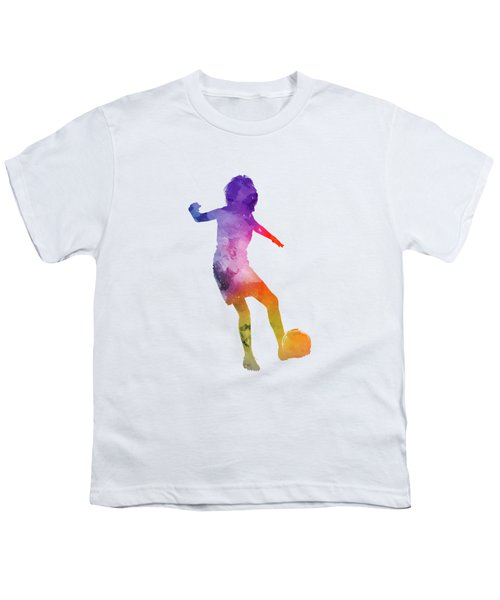 Woman Soccer Player 15 In Watercolor Youth T-Shirt