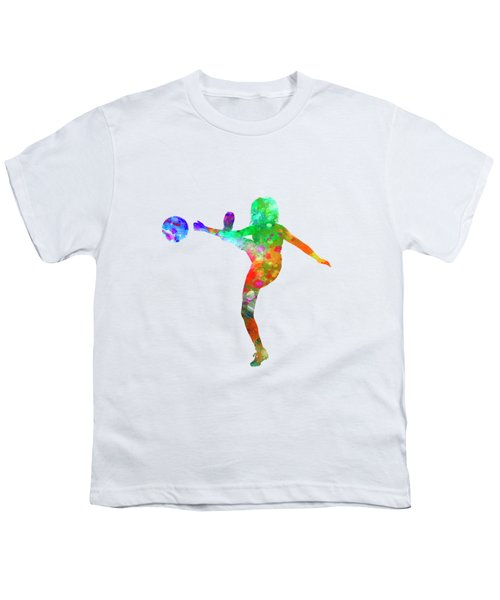 Woman Soccer Player 17 In Watercolor Youth T-Shirt by Pablo Romero