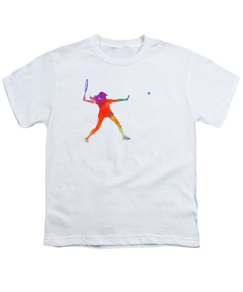 Woman Tennis Player 01 In Watercolor Youth T-Shirt by Pablo Romero