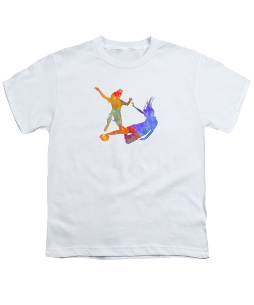 Women Soccer Players 02 In Watercolor Youth T-Shirt