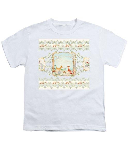Woodland Fairy Tale - Aqua Blue Forest Gathering Of Woodland Animals Youth T-Shirt