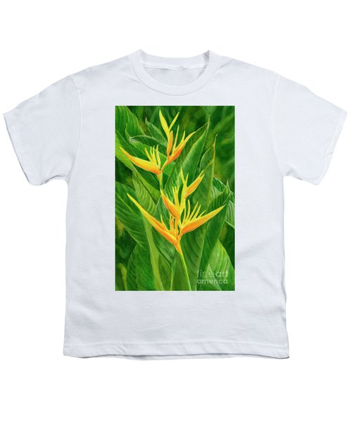 Yellow Orange Heliconia With Leaves Youth T-Shirt