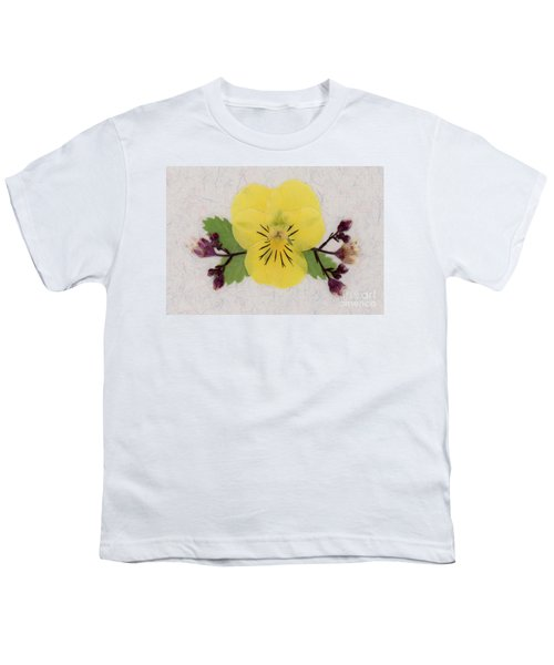 Yellow Pansy And Coral Bells Pressed Flowers Youth T-Shirt