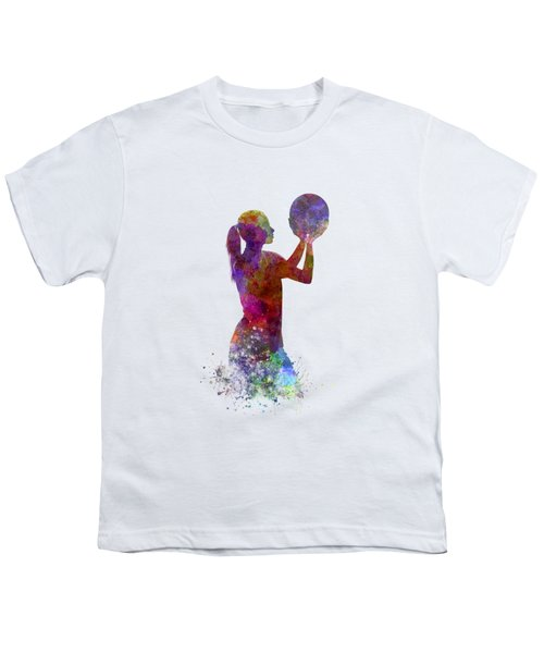 Young Woman Basketball Player 03 In Watercolor Youth T-Shirt by Pablo Romero