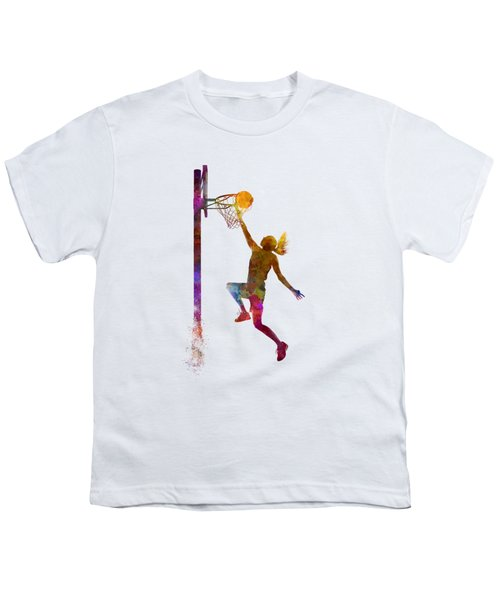 Young Woman Basketball Player 04 In Watercolor Youth T-Shirt by Pablo Romero