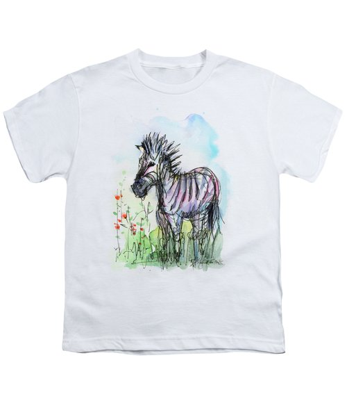 Zebra Painting Watercolor Sketch Youth T-Shirt by Olga Shvartsur