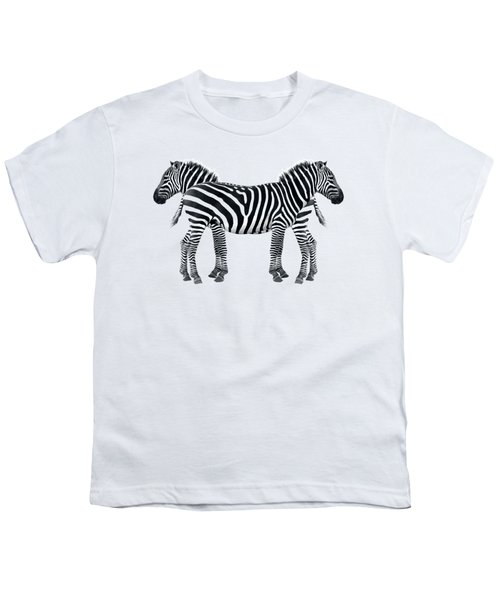 Zebra Pair On Black Youth T-Shirt by Gill Billington
