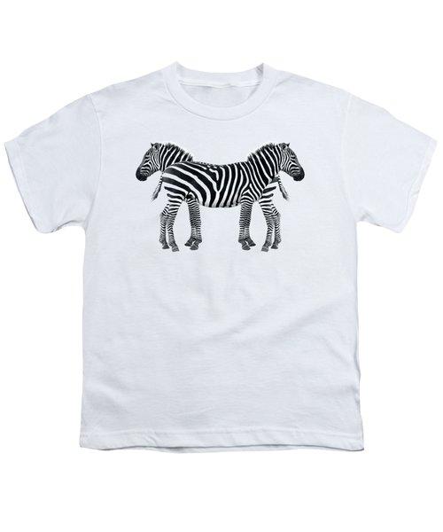 Zebra Pair On Black Youth T-Shirt