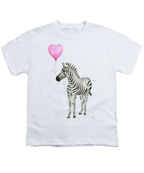 Zebra Watercolor Whimsical Animal With Balloon Youth T-Shirt