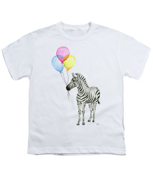 Zebra With Balloons Watercolor Whimsical Animal Youth T-Shirt by Olga Shvartsur