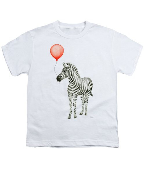 Zebra With Red Balloon Whimsical Baby Animals Youth T-Shirt by Olga Shvartsur