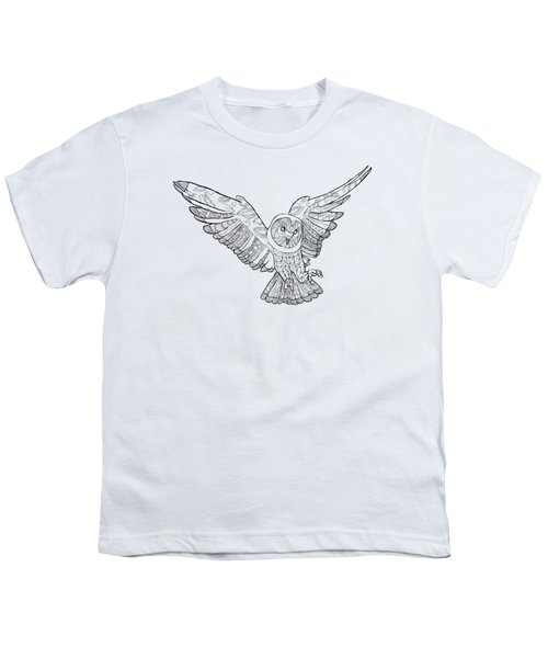 Zentangle Owl In Flight Youth T-Shirt by Cindy Elsharouni