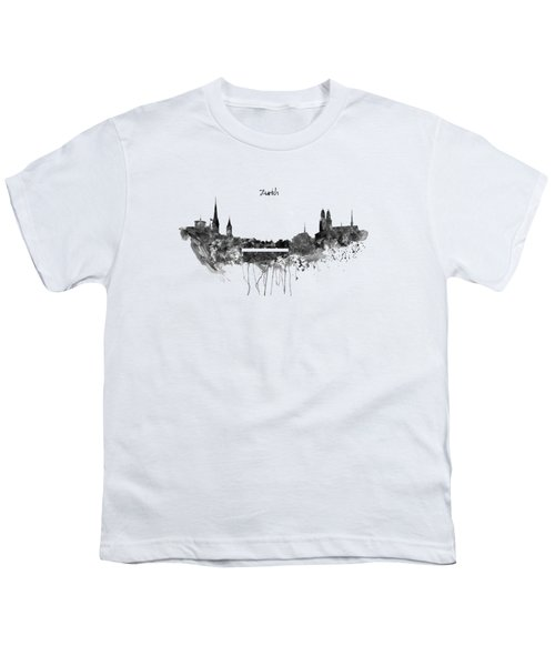 Zurich Black And White Skyline Youth T-Shirt by Marian Voicu