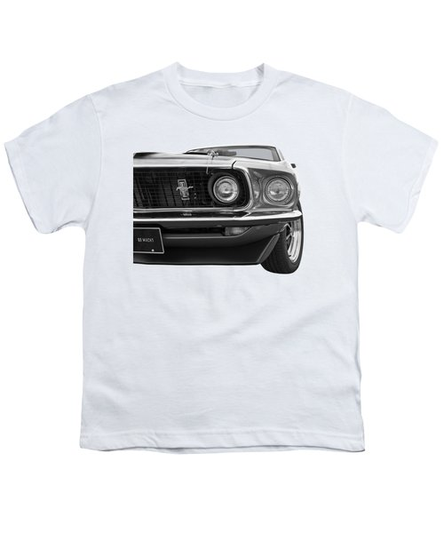 1969 Mustang Mach 1 Black And White Youth T-Shirt