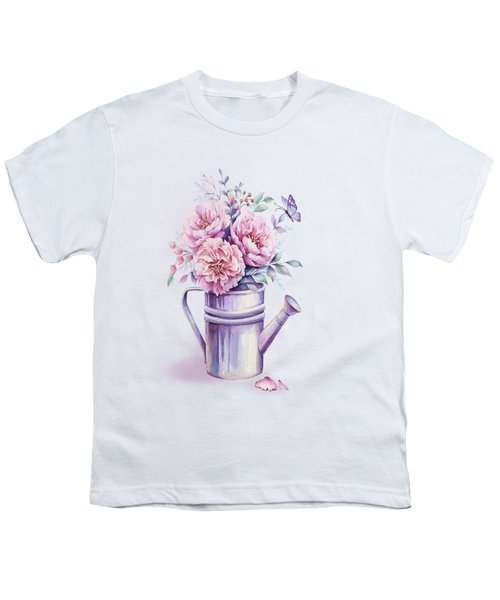 Youth T-Shirt featuring the painting Pink Peonies Blooming Watercolour by Georgeta Blanaru