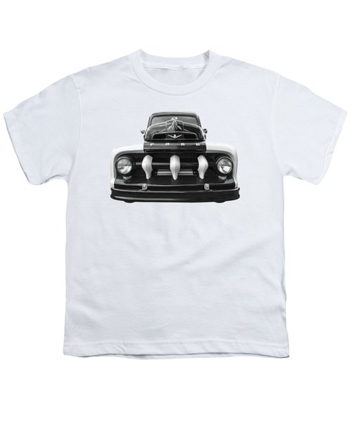 Early Fifties Ford V8 F-1 Truck In Black And White Youth T-Shirt