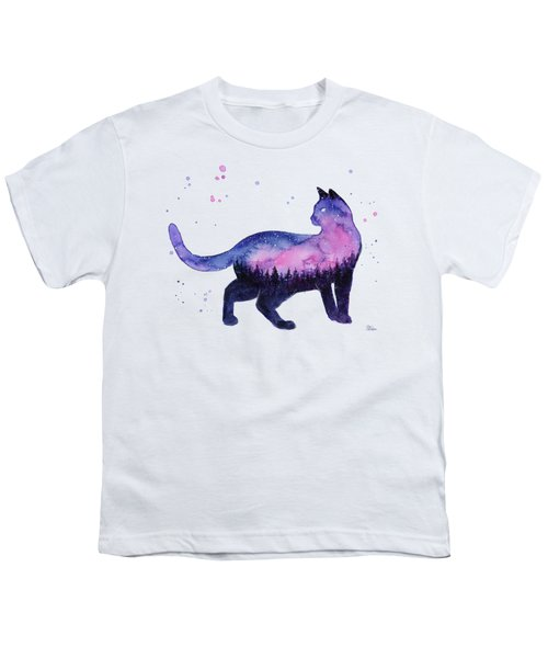 Galaxy Forest Cat Youth T-Shirt
