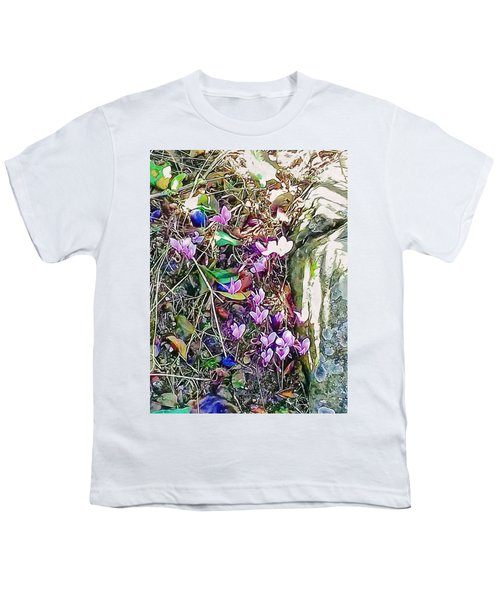 Pink Cyclamen With Fallen Damsons Youth T-Shirt