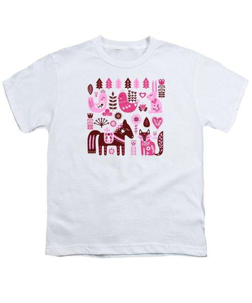 Raspberry And Cream Scandinavian Folk Art Forest Friends Youth T-Shirt