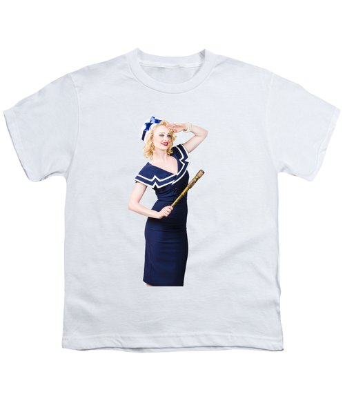 Sailor Girl Pin-up Looking Out To Sea Youth T-Shirt
