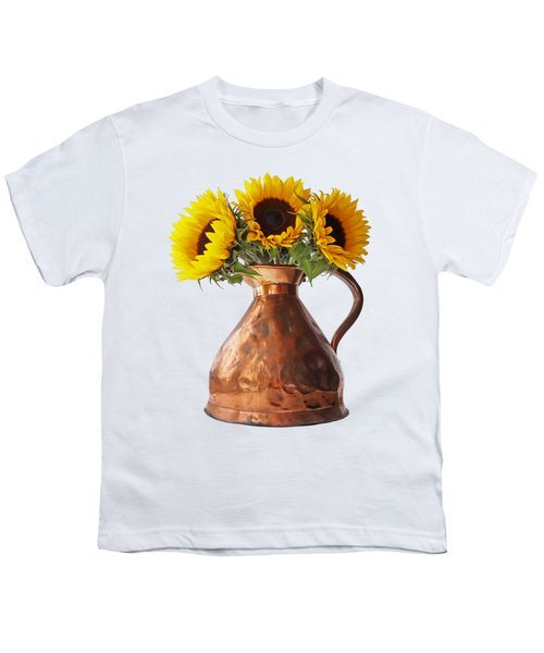 Sunflowers In Copper Pitcher On White Youth T-Shirt