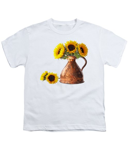 Sunflowers In Copper Pitcher On White Square Youth T-Shirt