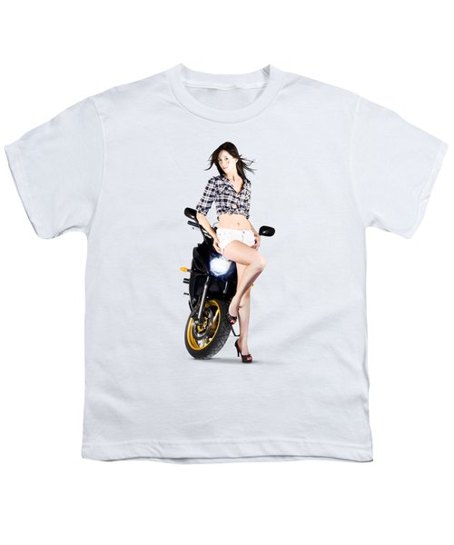 Woman Leaning On A Motorbike Youth T-Shirt
