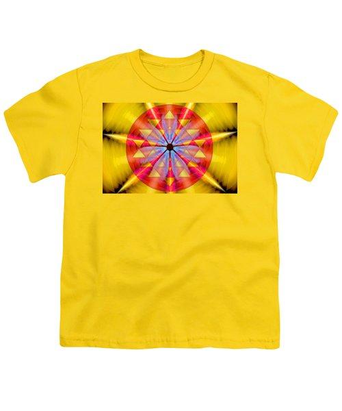 Geo-cosmic Sri Yantra Youth T-Shirt by Derek Gedney