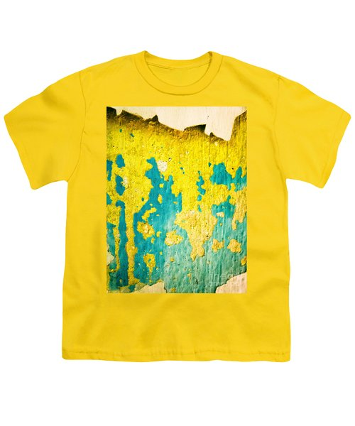 Youth T-Shirt featuring the photograph Yellow And Green Abstract Wall by Silvia Ganora