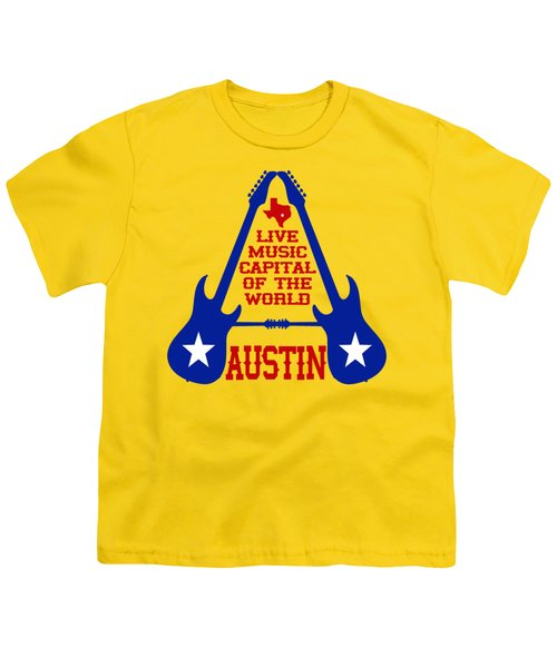 Austin Live Music Capital Of The World Youth T-Shirt by David G Paul