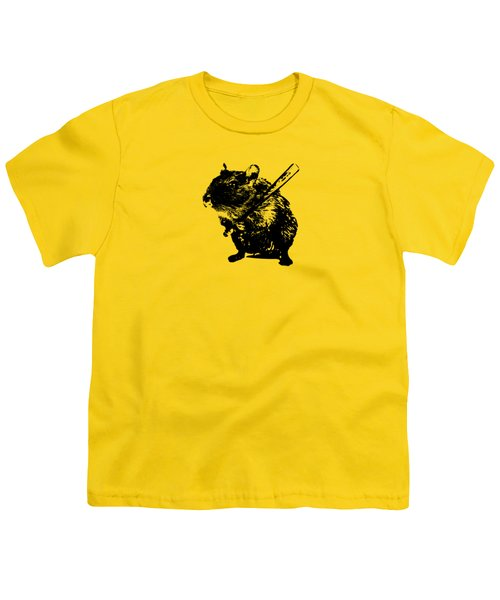 Angry Street Art Mouse  Hamster Baseball Edit  Youth T-Shirt by Philipp Rietz